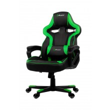 Arozzi MILANO supportive pillow, thick padded armrests, rocking function, pleather material tot 92kg gewicht gaming stoel (Black Green)